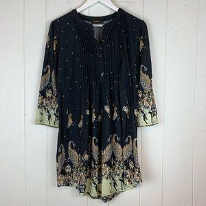Reborn Tunic Top XL Blouse Paisley Print